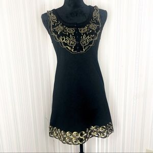Free People Black and Gold Embroidered Aline Dress